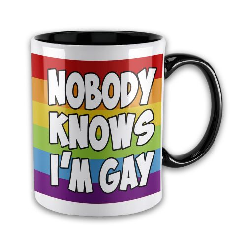 15oz Nobody Knows I'm Gay Novelty Gift Mug - Black Inner & Handle